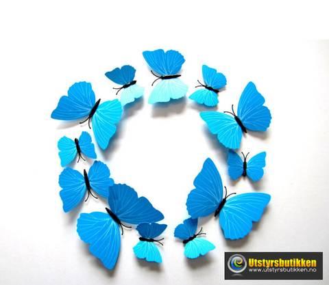 Bilde av 3D Sommerfugler med magnet - 12 stk blå