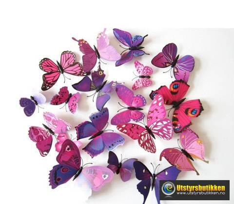 Bilde av 3D Sommerfugler med magnet - 12 stk rosa/lilla