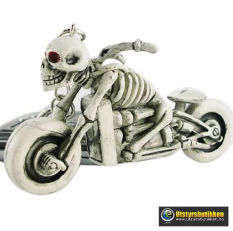 Bilde av Nøkkelring Skjelett på motorsykkel