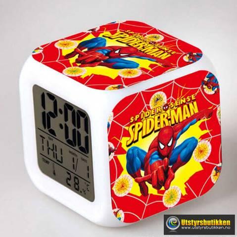 Bilde av Spiderman LED vekkerklokke med termometer og lys