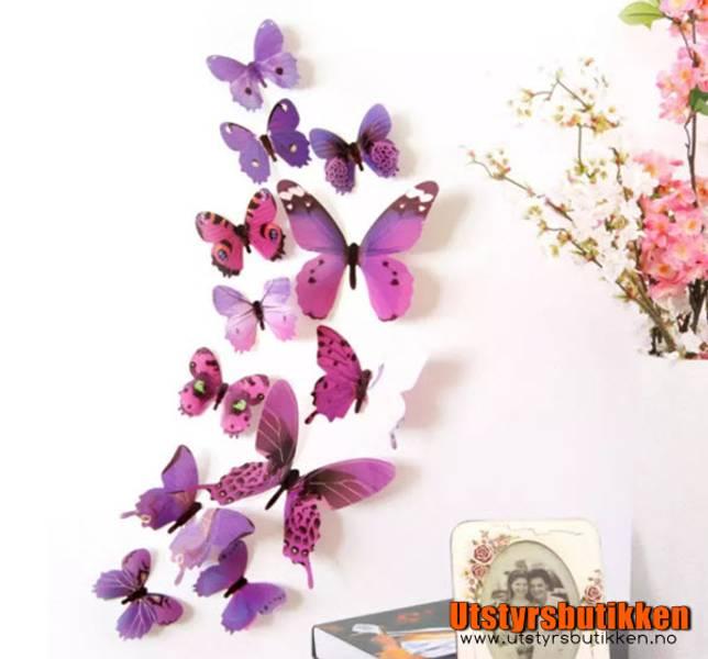 3D Sommerfugler - 12 stk rosa/lilla
