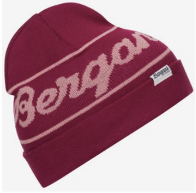 Bilde av Bergans LogoYouth Beanie Beet Red / Pastel Pink
