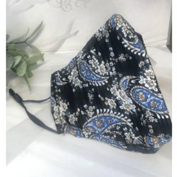 Bilde av Munnbind 3-lags svart med blå paisley