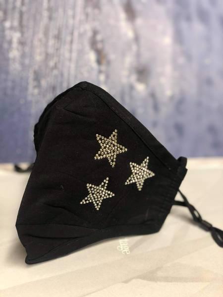 Bilde av Munnbind 3-lags svart med strass sølv stjerner