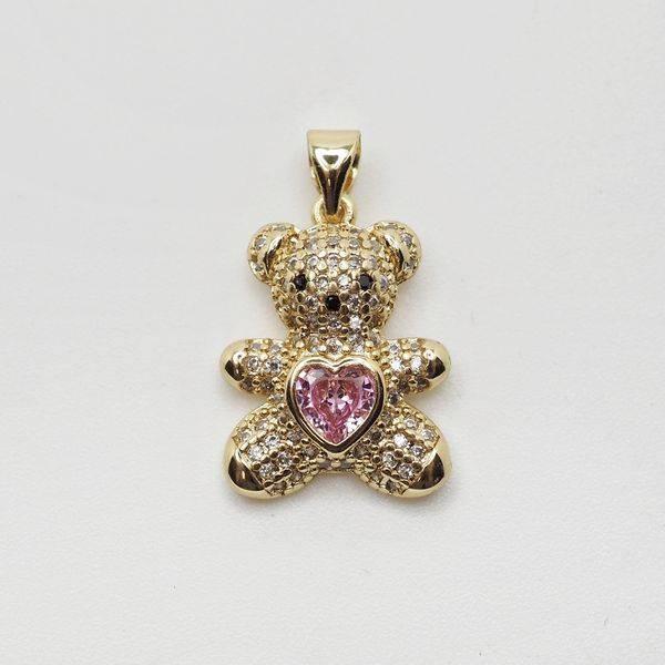Bilde av Bamseanheng gull med rosa hjerte og blanke stener