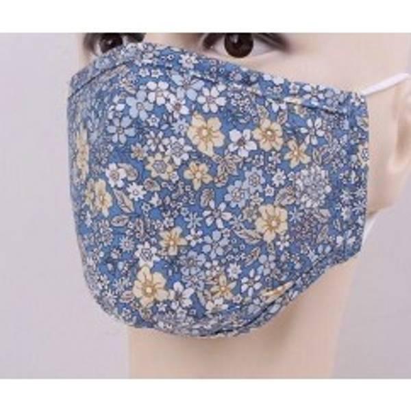 Bilde av Munnbind 3-lags blå blomster
