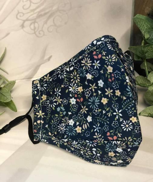 Bilde av Munnbind 3-lags blått med blomstermønster