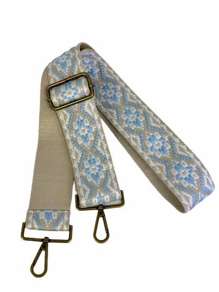 Bilde av veskestropp geometrisk mønster beige og lysblå