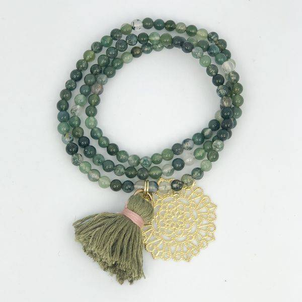 Bilde av Armbånd med naturstein i grønn
