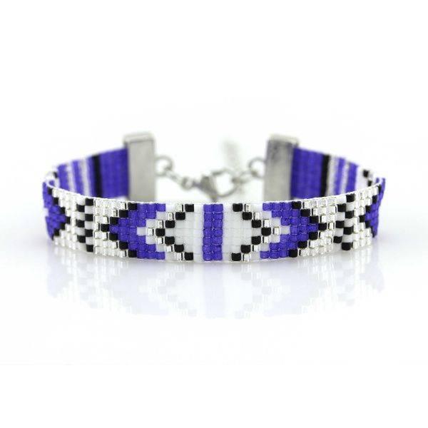 Bilde av Armbånd av perler blått og hvit
