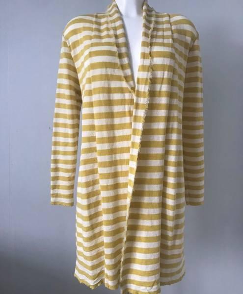 Bilde av Merinoull jakke mellomlang gul og krem stripete