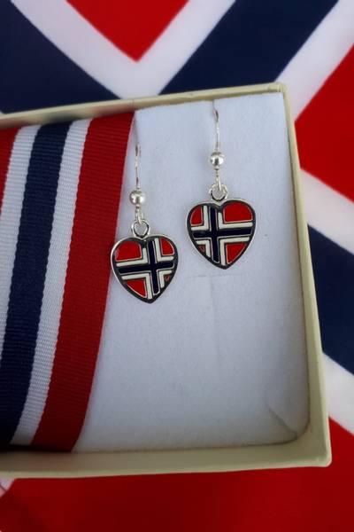 Bilde av Flaggøredobber i hjerteform, emalje og sølv