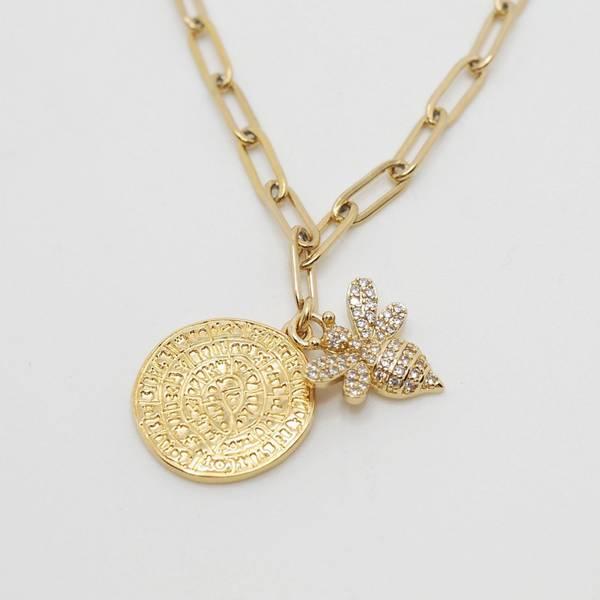 Bilde av Lenkesmykke med bie og mynt