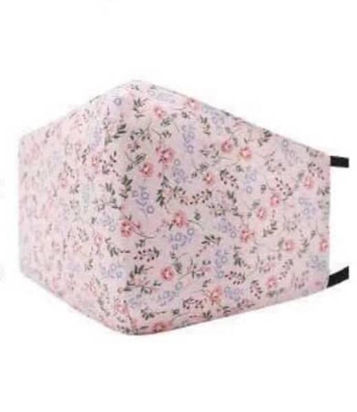 Bilde av Munnbind 3-lags lys rosa med små blomster