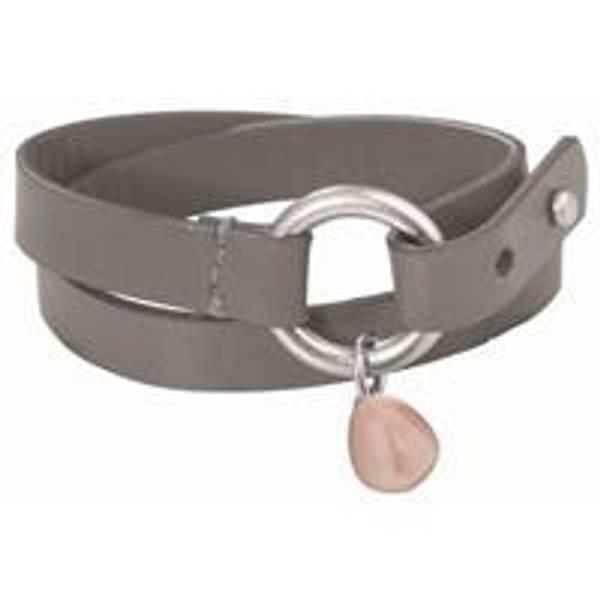Bilde av  Skinnarmbånd m sølv ring og grå agat sten