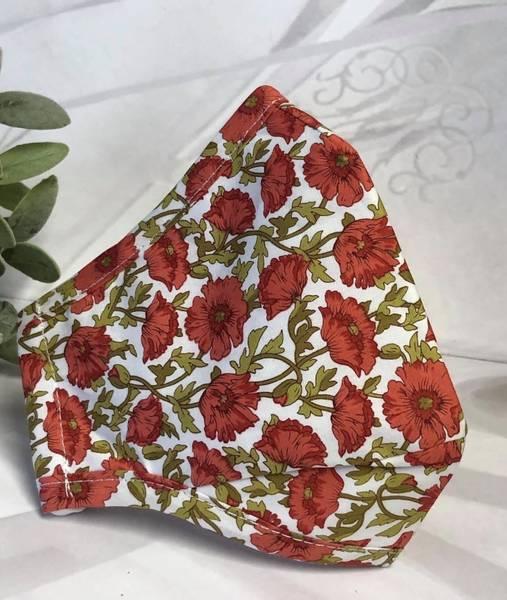 Bilde av Munnbind 3-lags hvit med rød valmue blomst