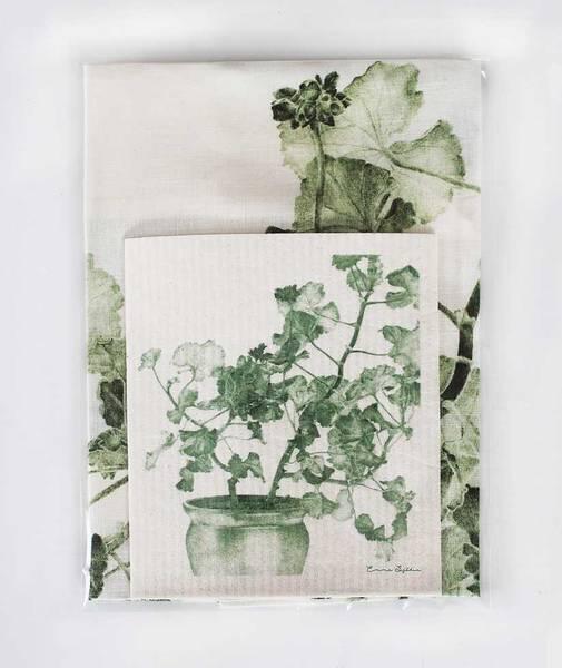 Bilde av Pakke med kjøkkenklut og linhåndkle grønn
