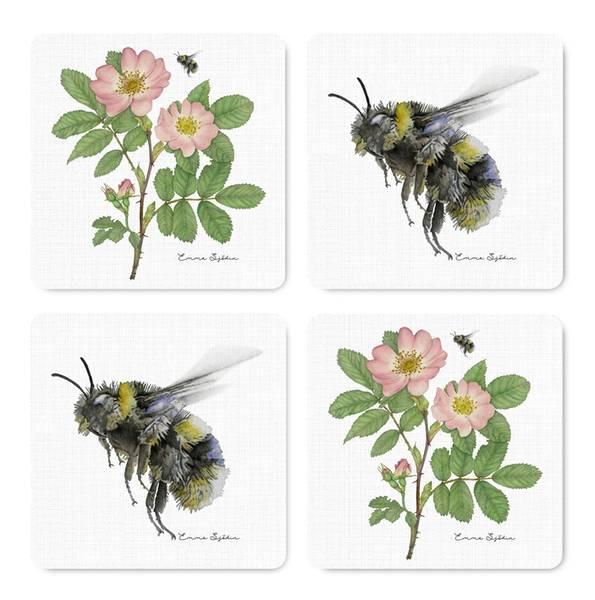 Bilde av Coasters bie og nyperose