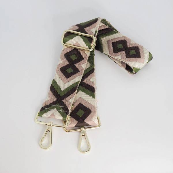 Bilde av veskestropp geometrisk mønster, grønn, rosa og