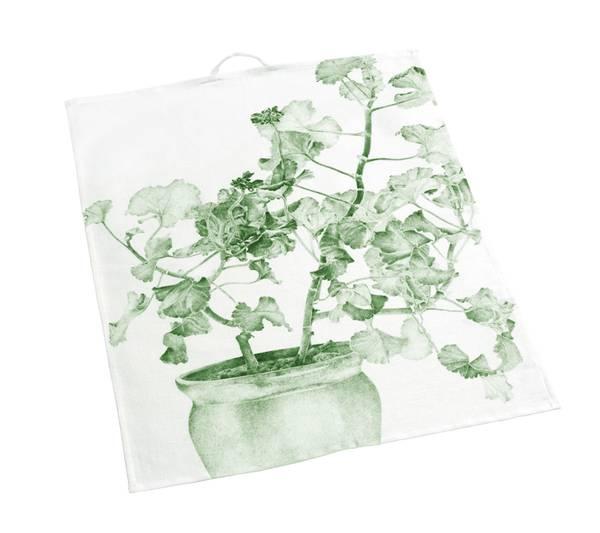 Bilde av Kjøkkenhåndkle i lin med grønn pelargonia