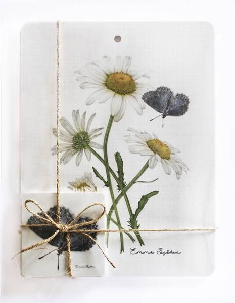 Bilde av Pakke med skjærebrett og coasters med prestekrage