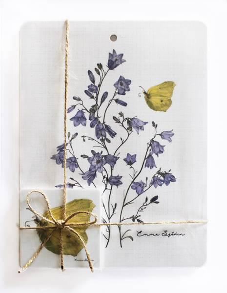 Bilde av Pakke med skjærebrett og coasters med blåklokke