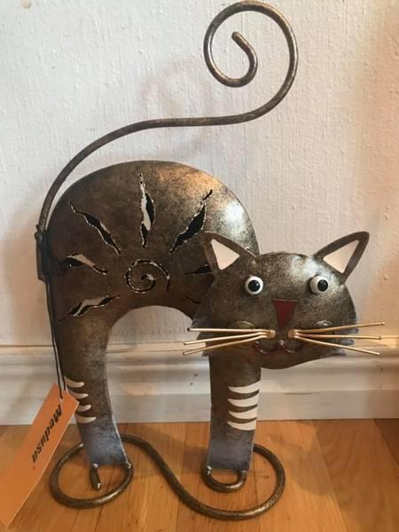 Bilde av Katt i metall (liten) oransje eller brun