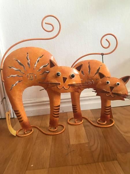 Bilde av Katt i metall (stor) oransje eller brun
