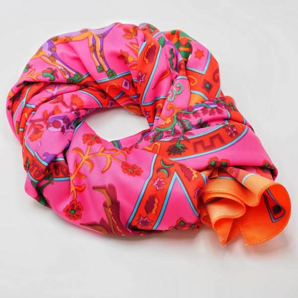 Bilde av Stort skjerf knallfarger rosa bunn, oransje kant
