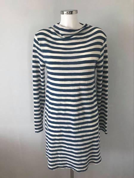 Bilde av Merinoullkjole kort drophals striper blå og hvit