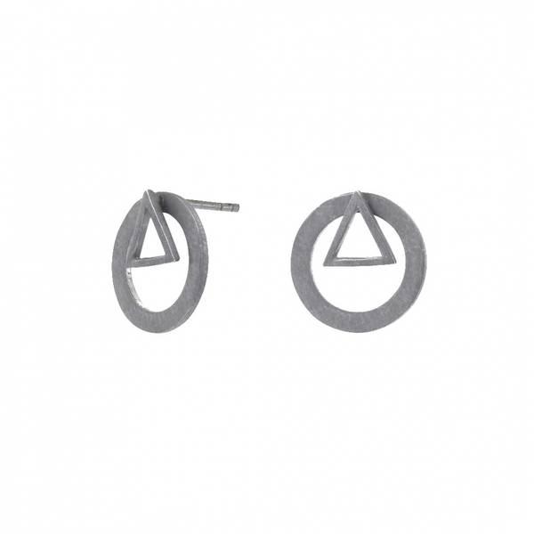 Bilde av  Øredobber med sirkel og trekant, sølv