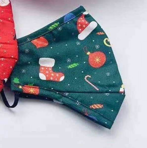 Bilde av Munnbind 3-lags julemotiv grønn med mønster