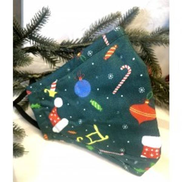 Munnbind 3-lags julemotiv grønn med mønster
