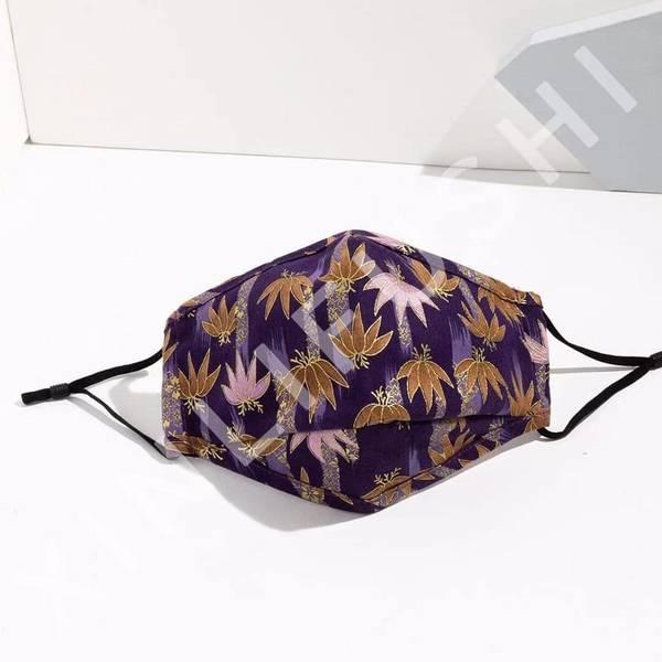 Bilde av Munnbind 3-lags lilla blomstermønster