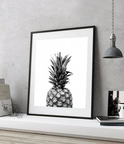 Bilde av BLACK AND WHITE PINEAPPLE POSTER