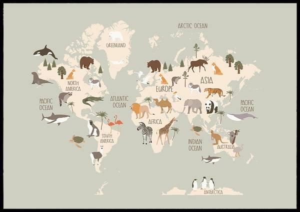 Bilde av World map minty green plakat