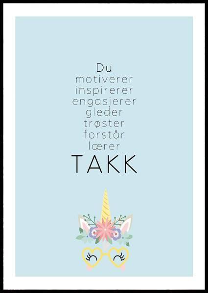 Bilde av TAKK BLÅ PLAKAT