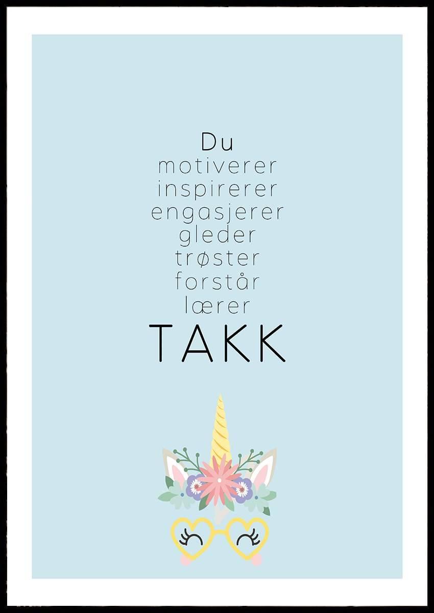 TAKK BLÅ PLAKAT