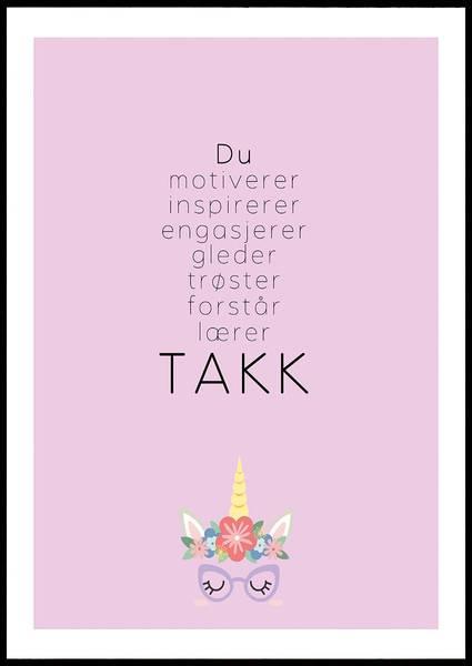 Bilde av TAKK ROSA PLAKAT