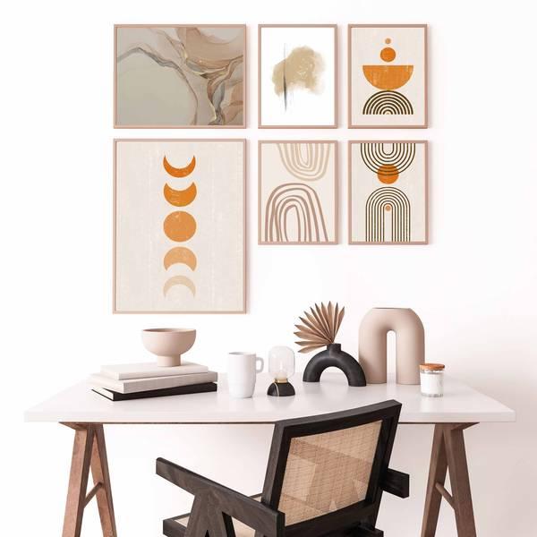 Bilde av Orange abstract moon plakat