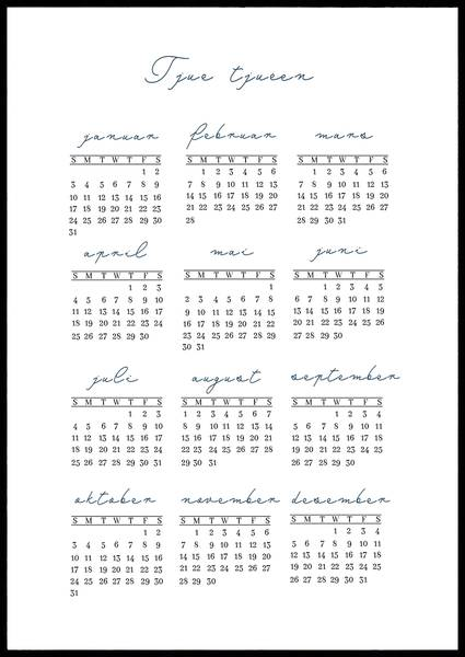 Bilde av Maritim blå løkkeskrift 2021 kalender
