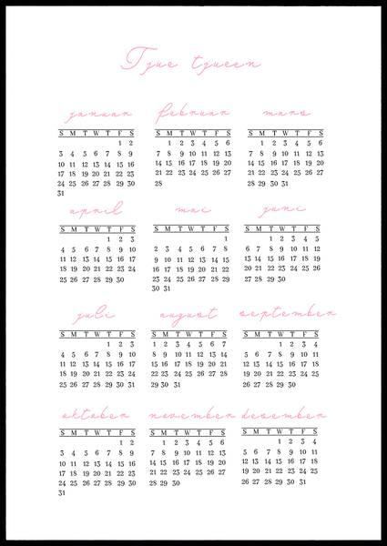 Bilde av Rosa løkkeskrift 2021 kalender
