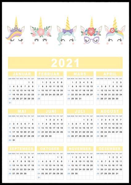 Bilde av Unicorns 2021 kalender