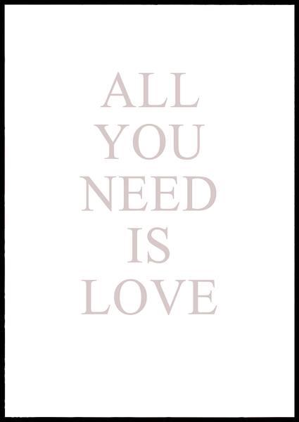 Bilde av All you need is love tekstplakat