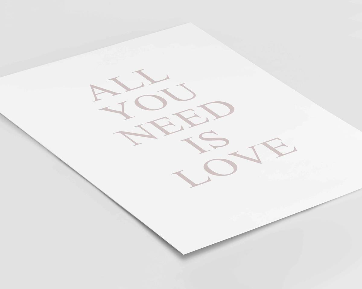 All you need is love tekstplakat