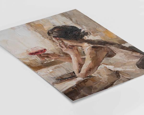 Bilde av Girl with red wine plakat