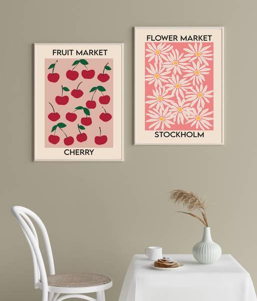 Bilde av Fruit market cherry plakat