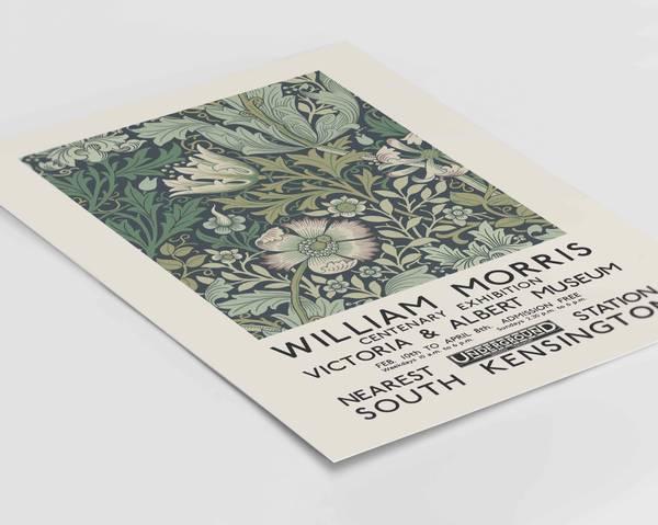 Bilde av William Morris green flowers kunstplakat