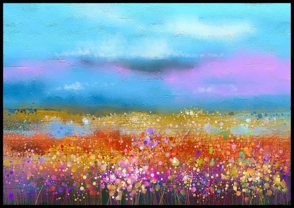 Bilde av Blomstereng maleri kunstplakat