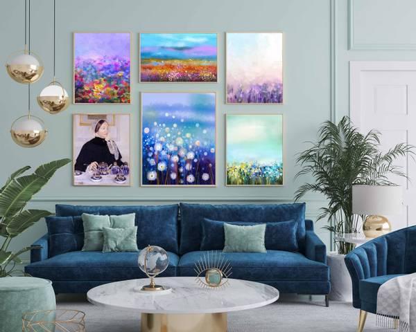 Bilde av Fargerike blomster maleri kunstplakat